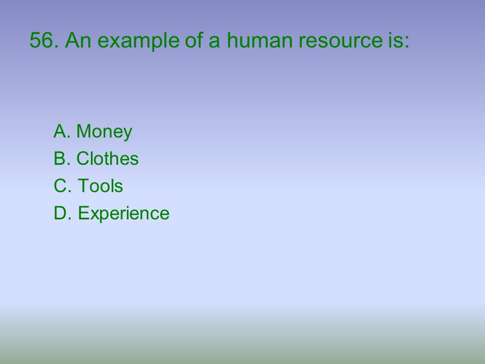 56. An example of a human resource is: