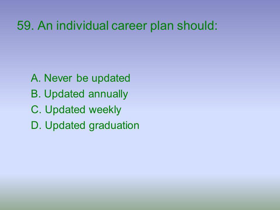 59. An individual career plan should: