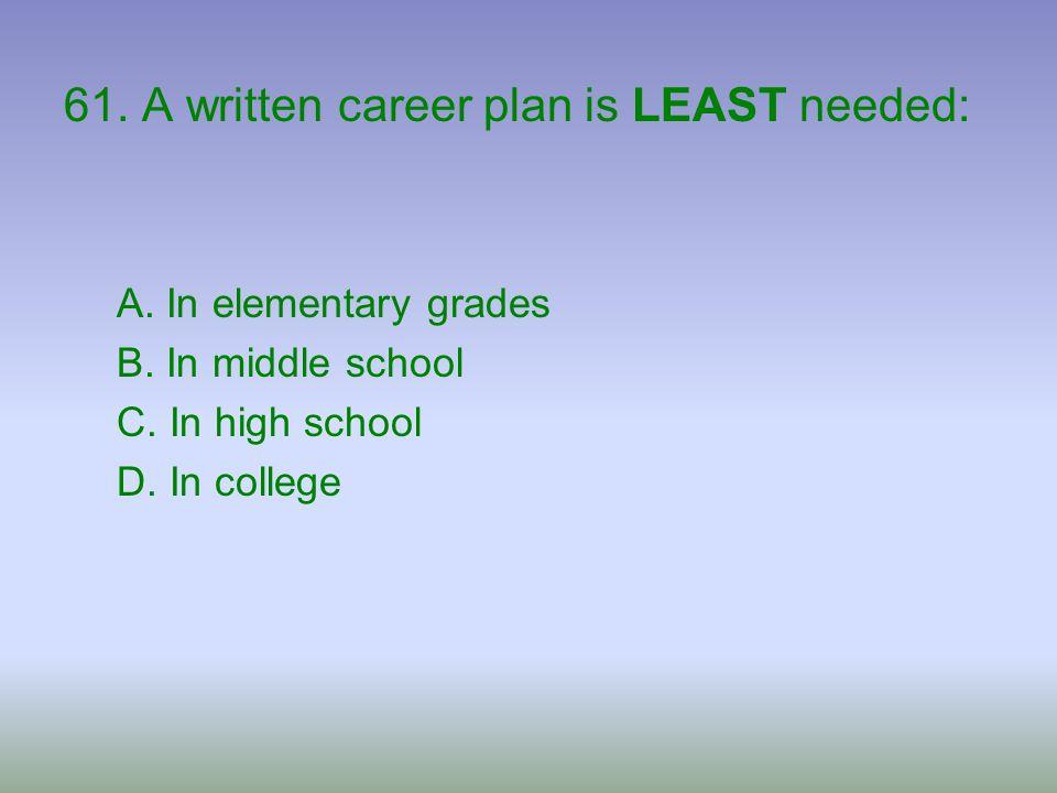 61. A written career plan is LEAST needed: