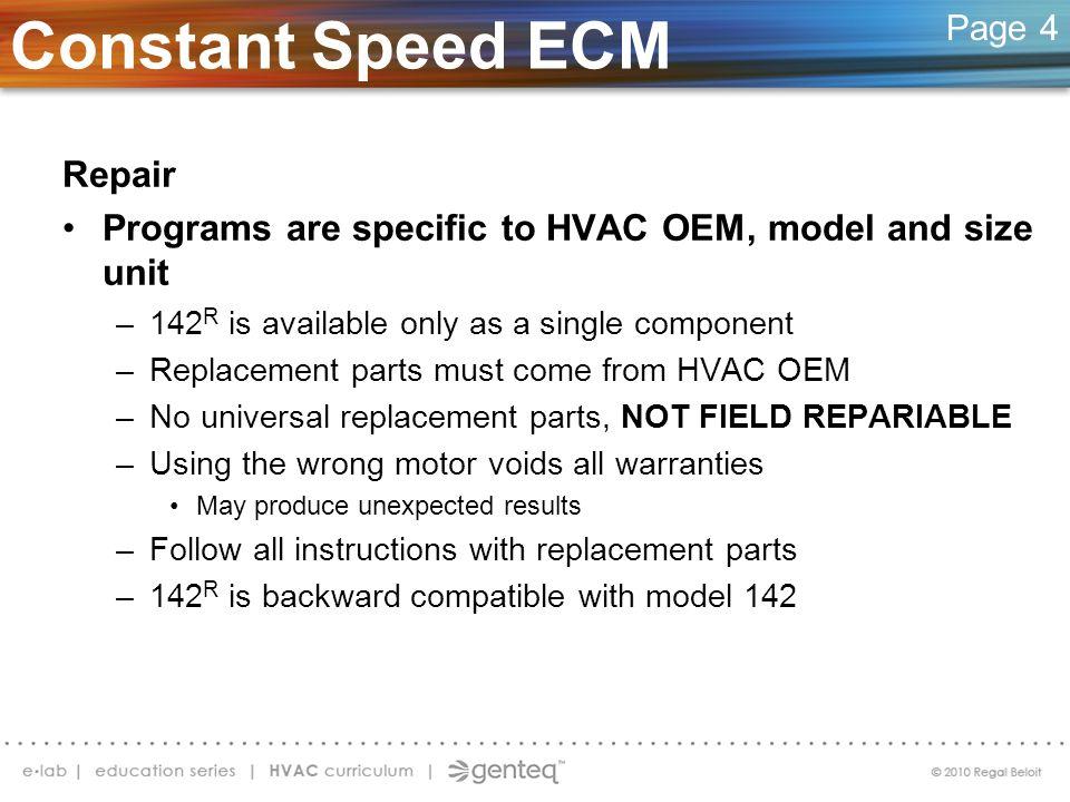 Constant Speed ECM Repair