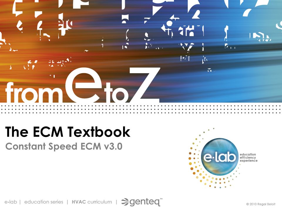 The ECM Textbook Constant Speed ECM v3.0