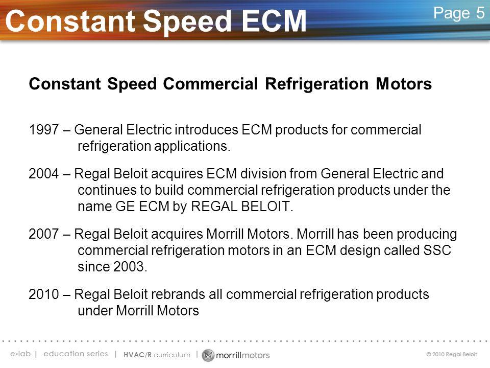 Constant Speed ECM Constant Speed Commercial Refrigeration Motors