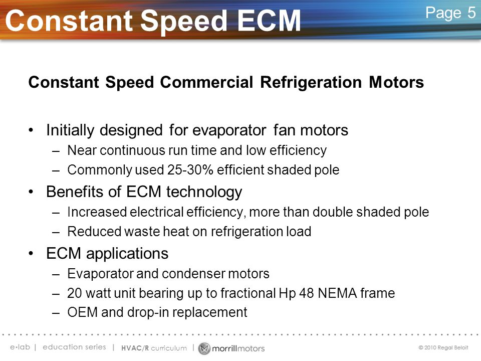 Constant Speed ECM Constant Speed Commercial Refrigeration Motors