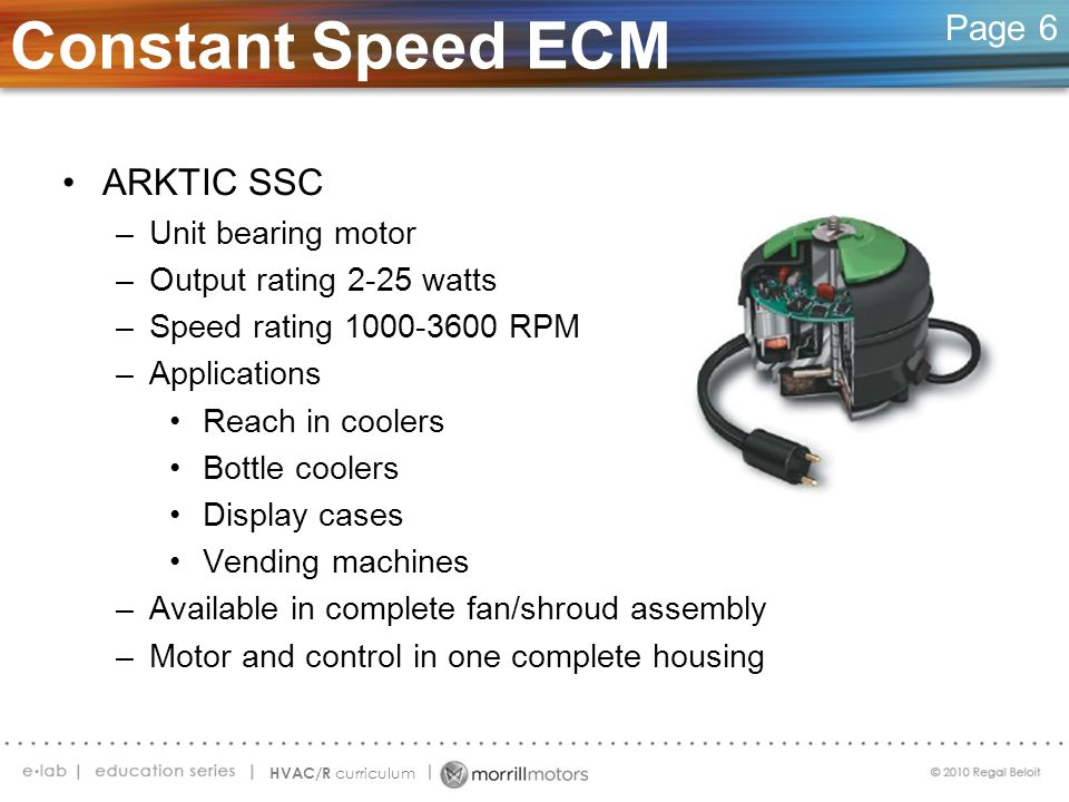 Constant Speed ECM ARKTIC SSC Page 6 Unit bearing motor