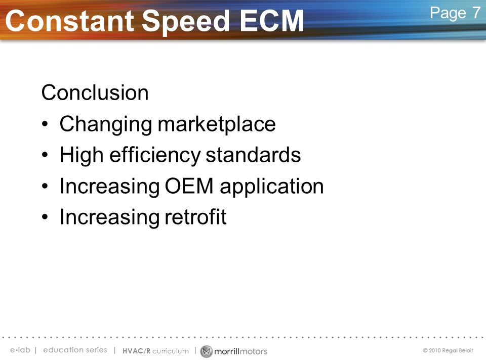 Constant Speed ECM Conclusion Changing marketplace