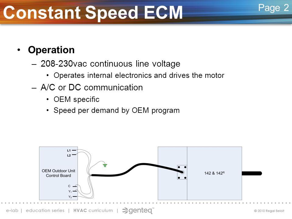 Constant Speed ECM Operation Page 2 208-230vac continuous line voltage
