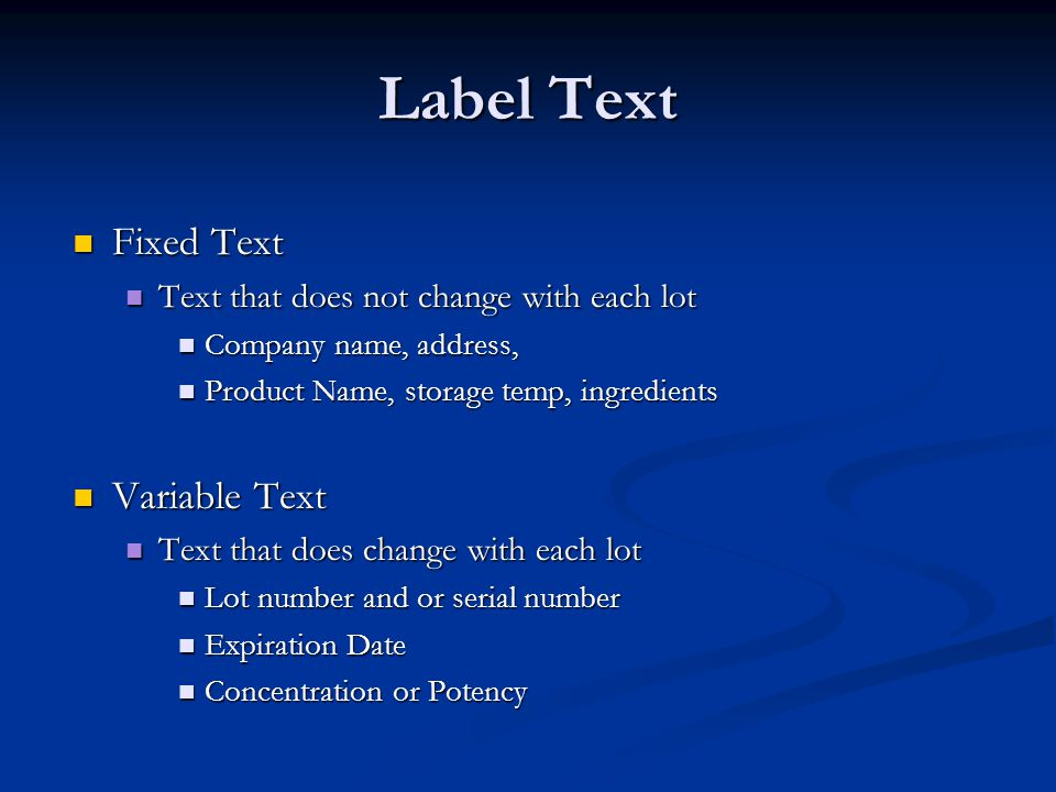 Label Text Fixed Text Variable Text