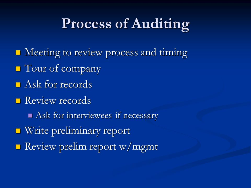 Process of Auditing Meeting to review process and timing