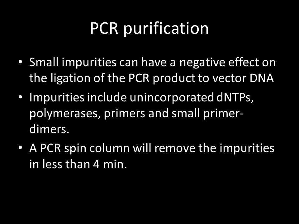 PCR purification Small impurities can have a negative effect on the ligation of the PCR product to vector DNA.