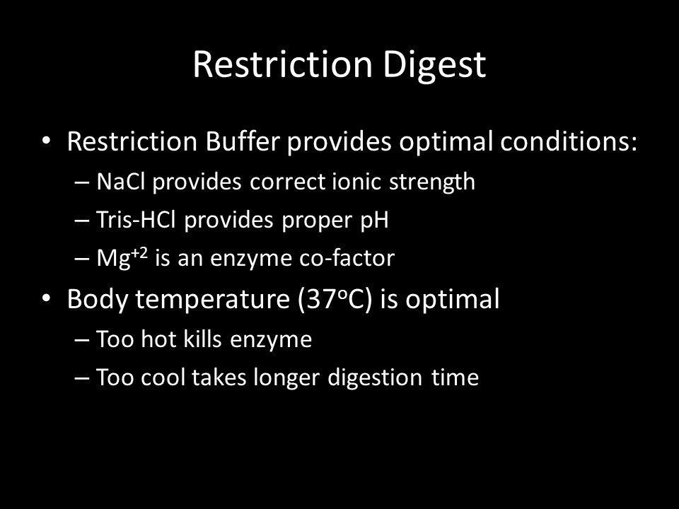 Restriction Digest Restriction Buffer provides optimal conditions: