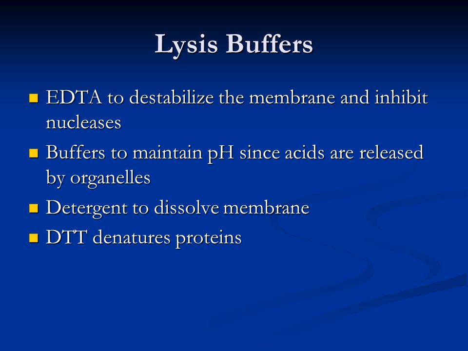 Lysis Buffers EDTA to destabilize the membrane and inhibit nucleases