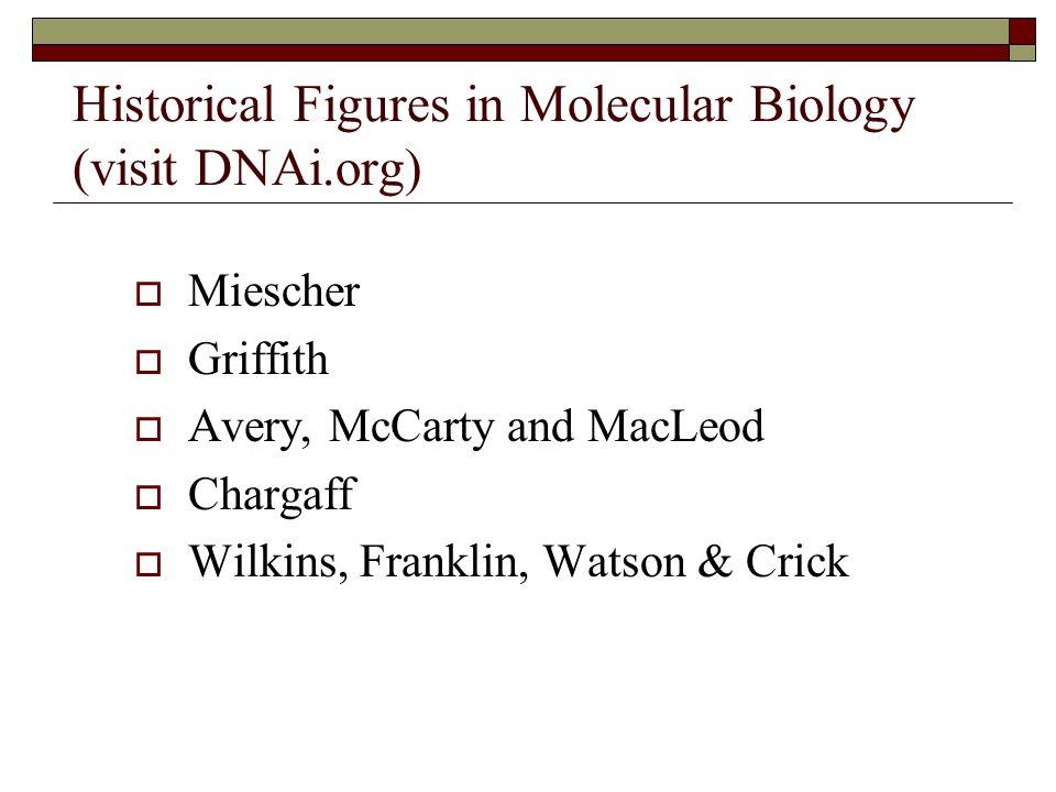 Historical Figures in Molecular Biology (visit DNAi.org)