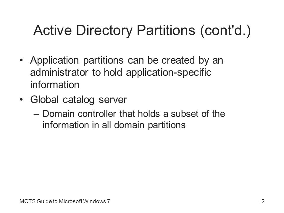 Active Directory Partitions (cont d.)