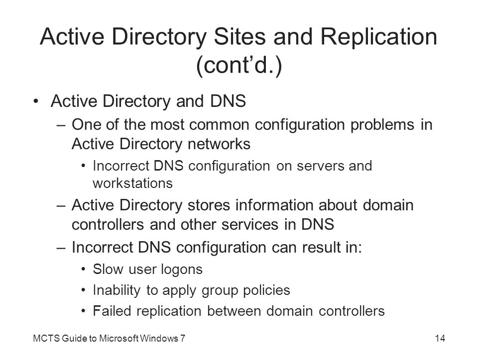 Active Directory Sites and Replication (cont'd.)
