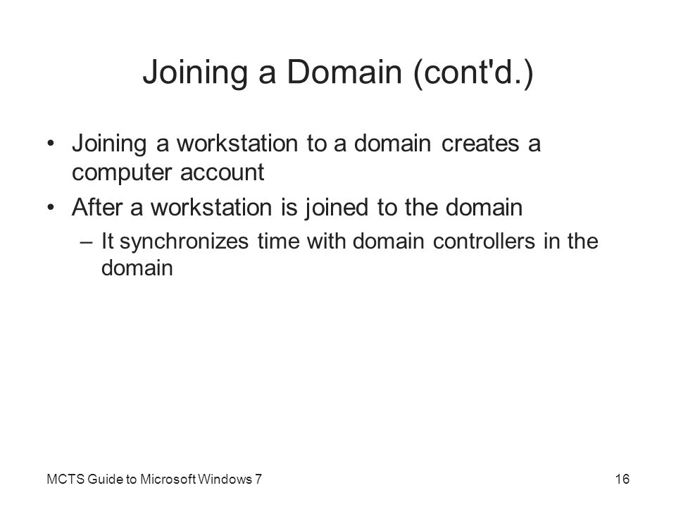 Joining a Domain (cont d.)