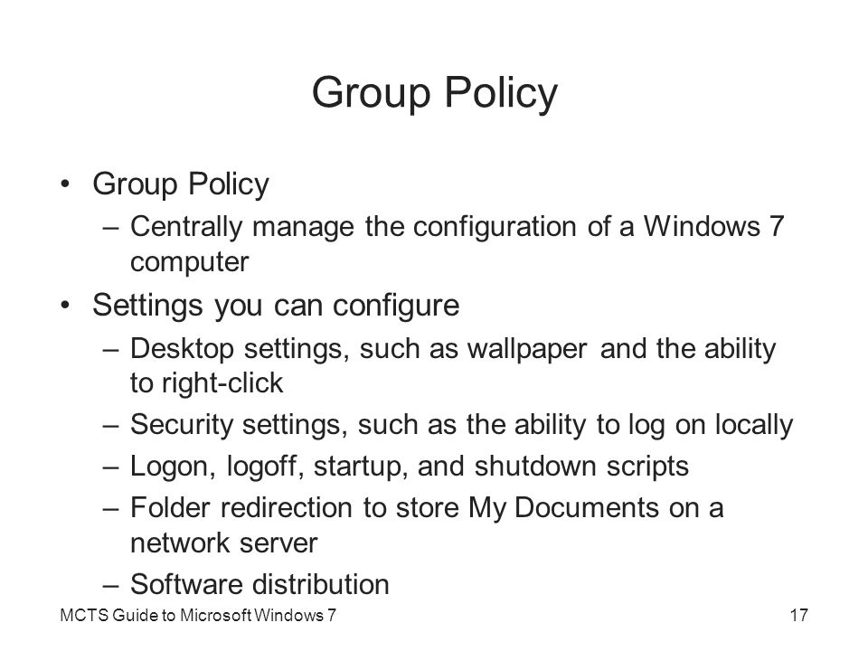 Group Policy Group Policy Settings you can configure