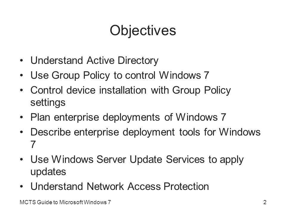 Objectives Understand Active Directory