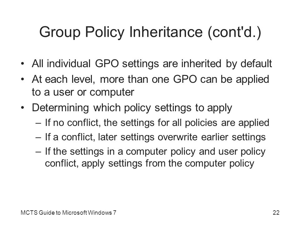 Group Policy Inheritance (cont d.)