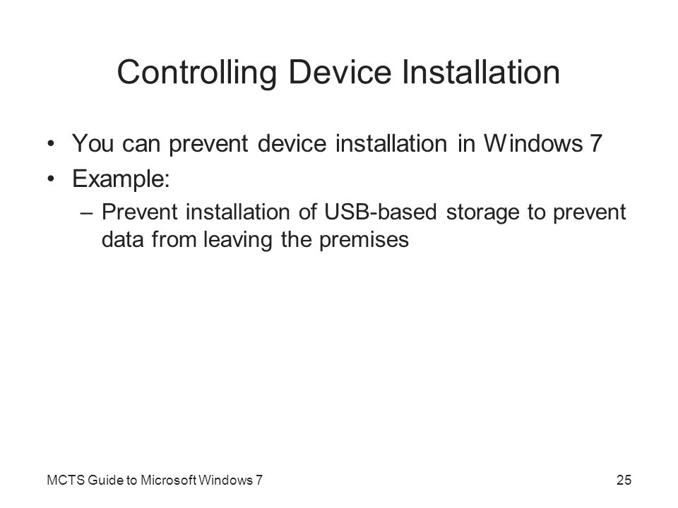 Controlling Device Installation