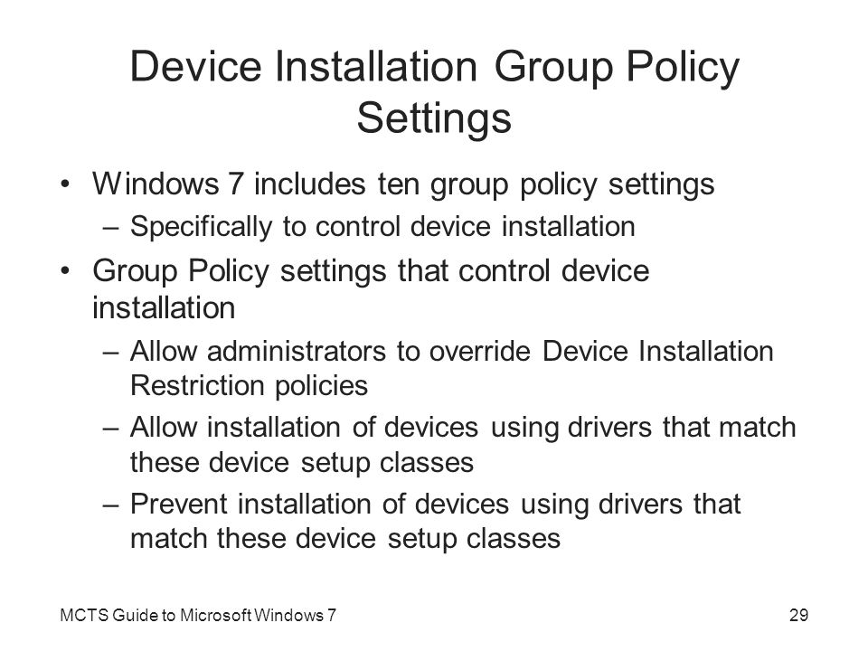 Device Installation Group Policy Settings
