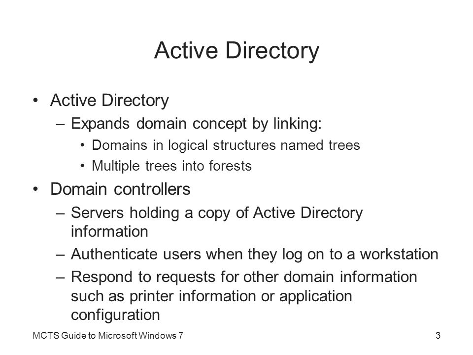 Active Directory Active Directory Domain controllers