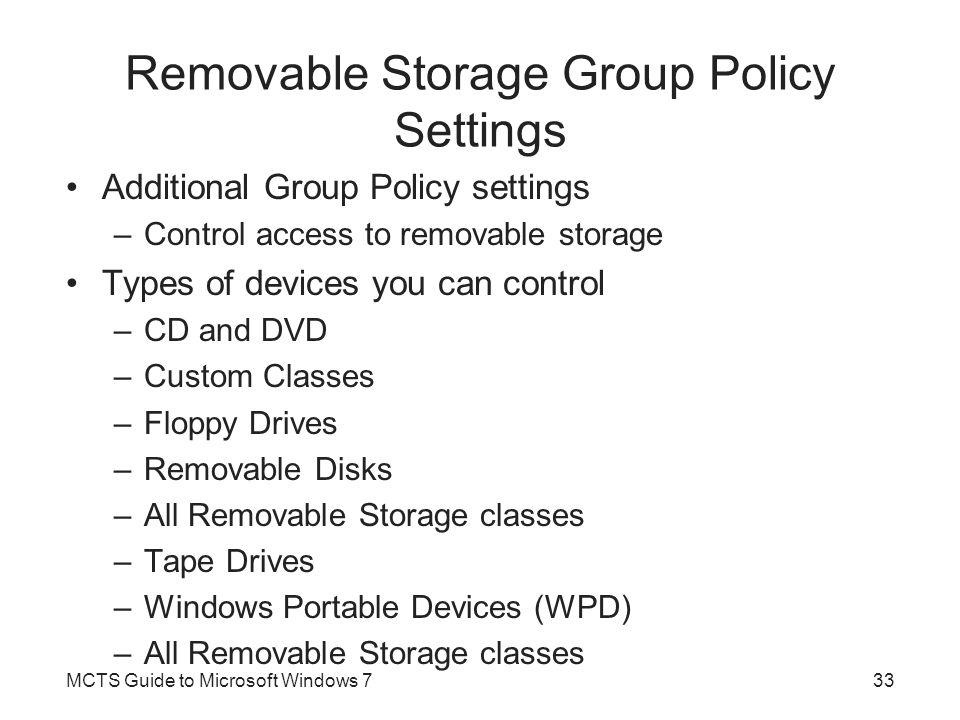 Removable Storage Group Policy Settings