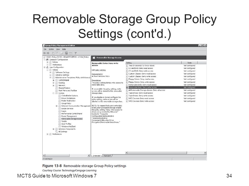 Removable Storage Group Policy Settings (cont d.)