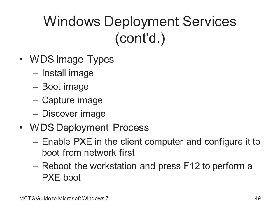 Windows Deployment Services (cont d.)