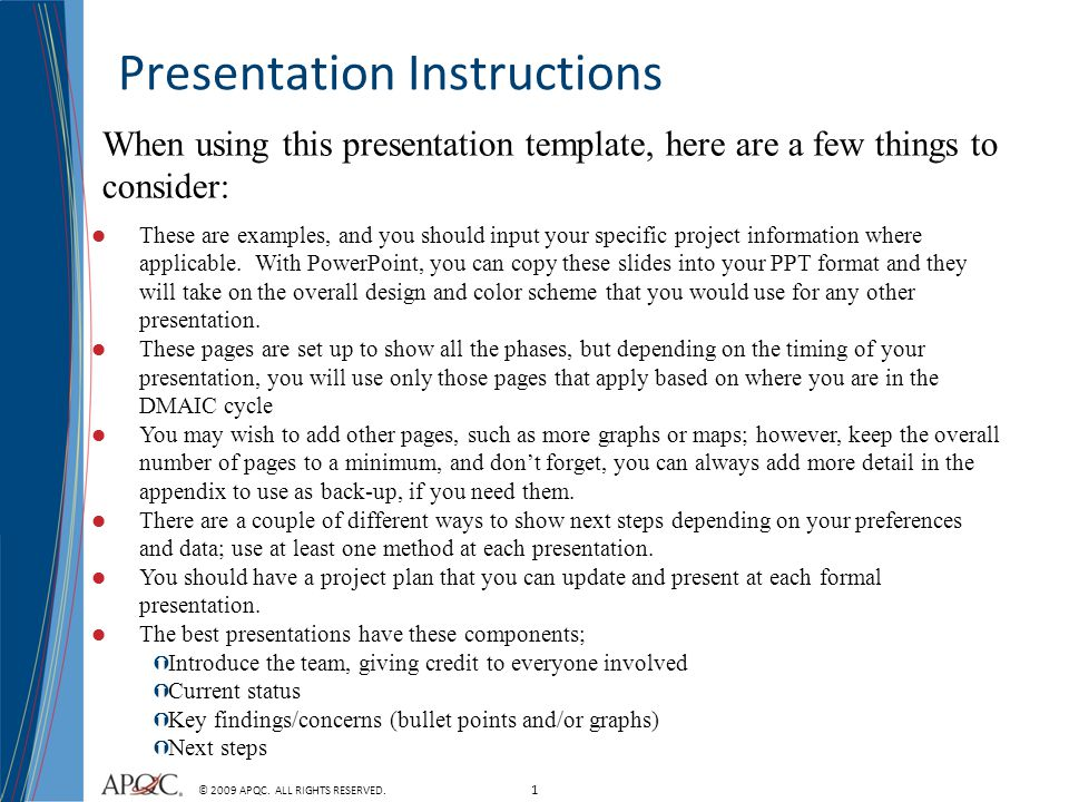 Presentation Instructions