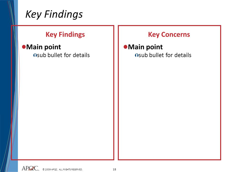 Key Findings Key Findings Key Concerns Main point Main point