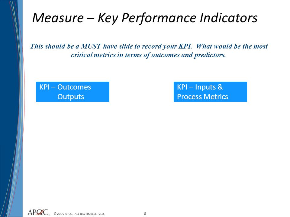Measure – Key Performance Indicators