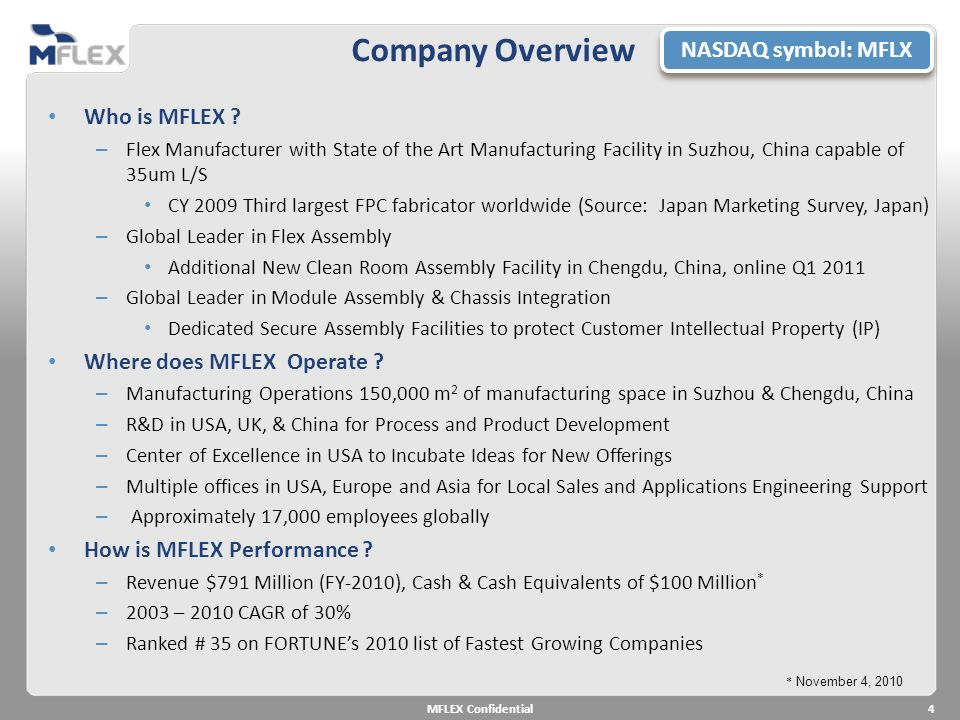 Company Overview NASDAQ symbol: MFLX Who is MFLEX