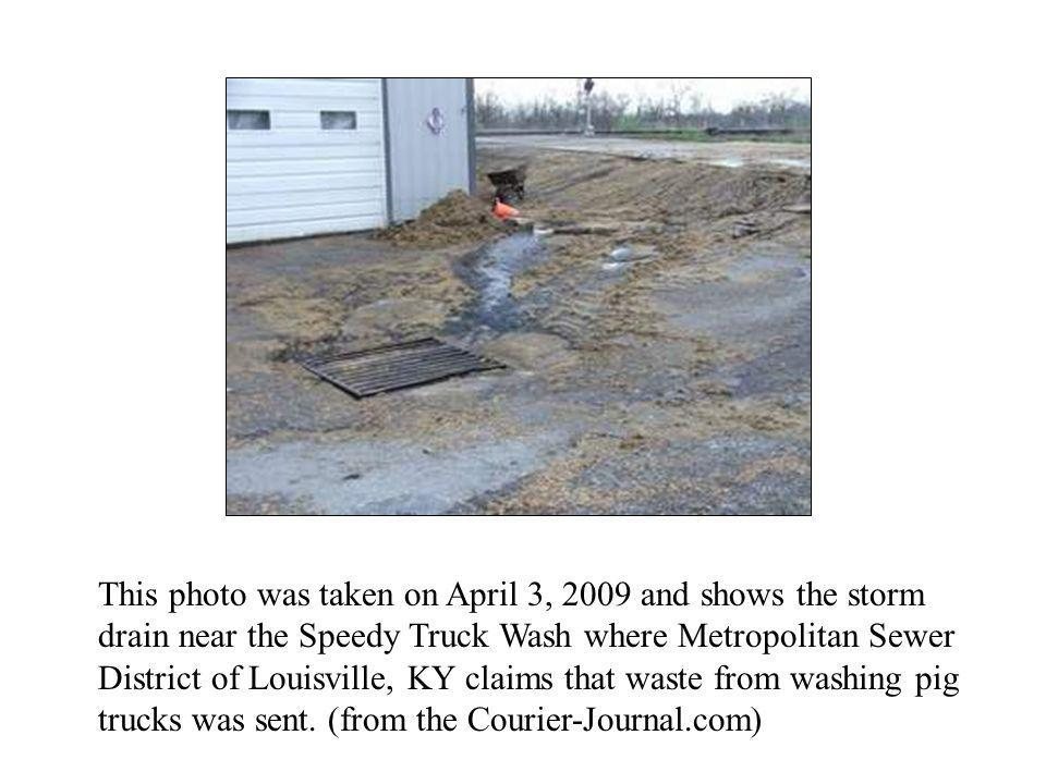 This photo was taken on April 3, 2009 and shows the storm drain near the Speedy Truck Wash where Metropolitan Sewer District of Louisville, KY claims that waste from washing pig trucks was sent.