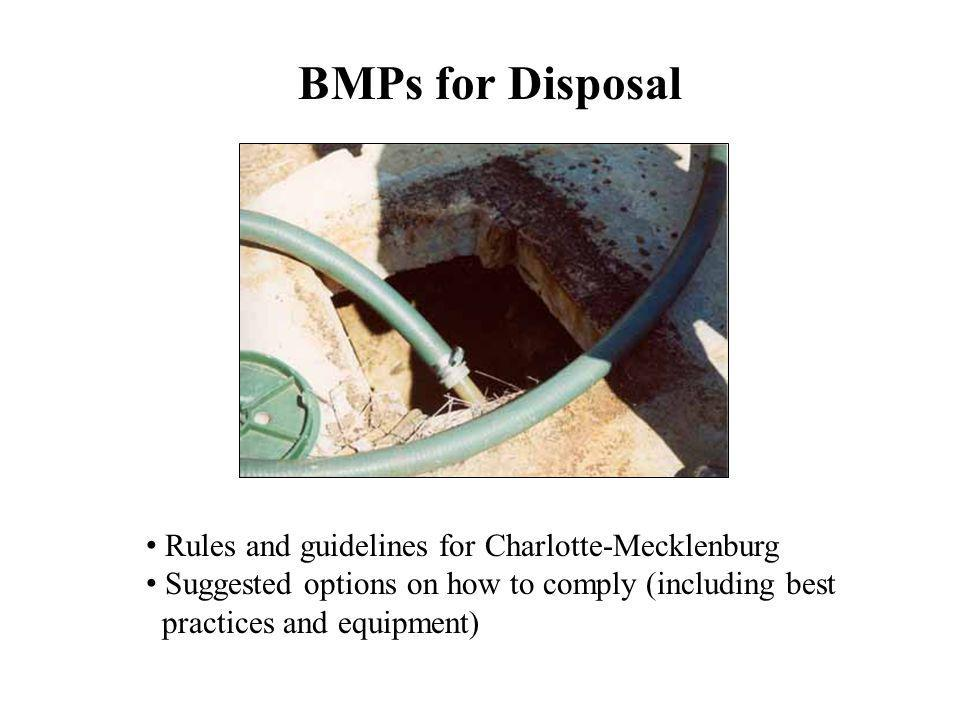 BMPs for Disposal Rules and guidelines for Charlotte-Mecklenburg