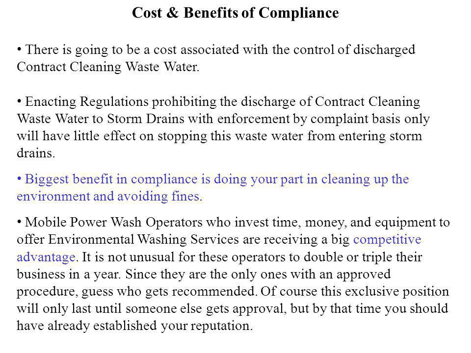 Cost & Benefits of Compliance