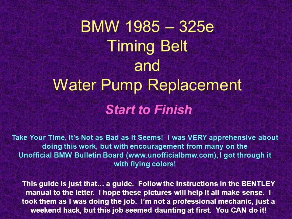 BMW 1985 – 325e Timing Belt and Water Pump Replacement