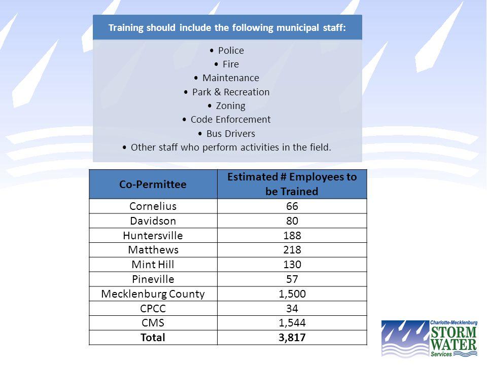 Training should include the following municipal staff:
