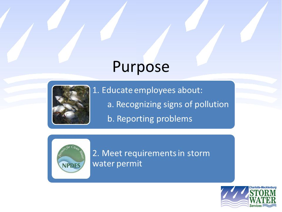 Purpose 1. Educate employees about: a. Recognizing signs of pollution