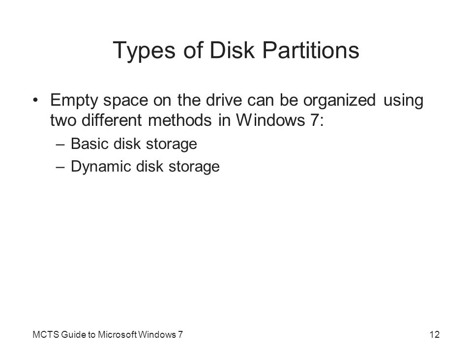 Types of Disk Partitions