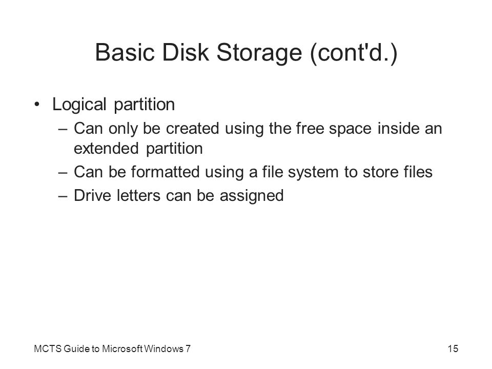 Basic Disk Storage (cont d.)