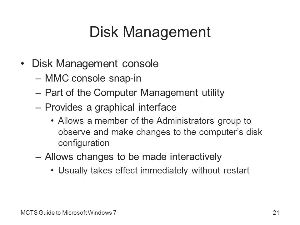 Disk Management Disk Management console MMC console snap-in