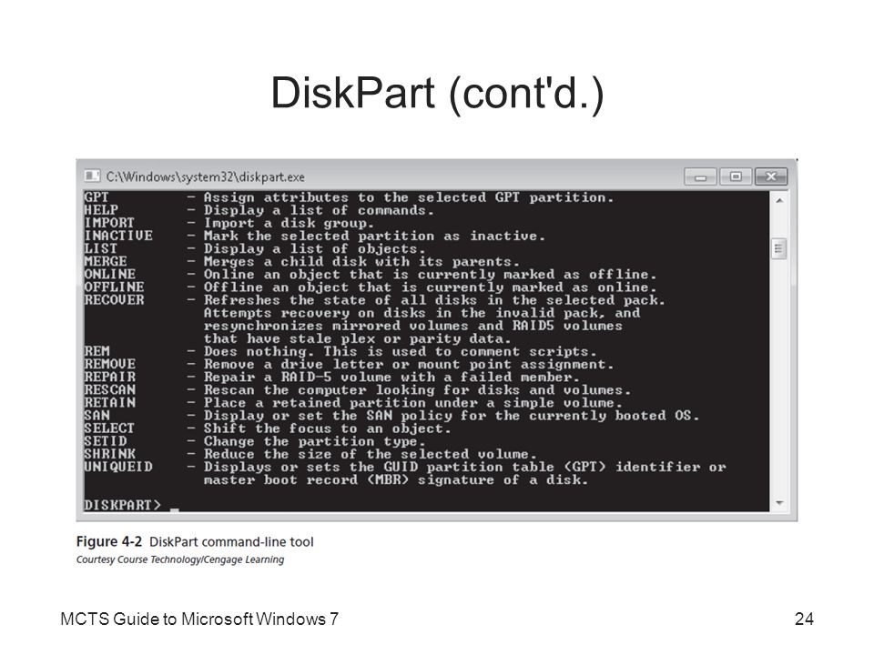 DiskPart (cont d.) MCTS Guide to Microsoft Windows 7