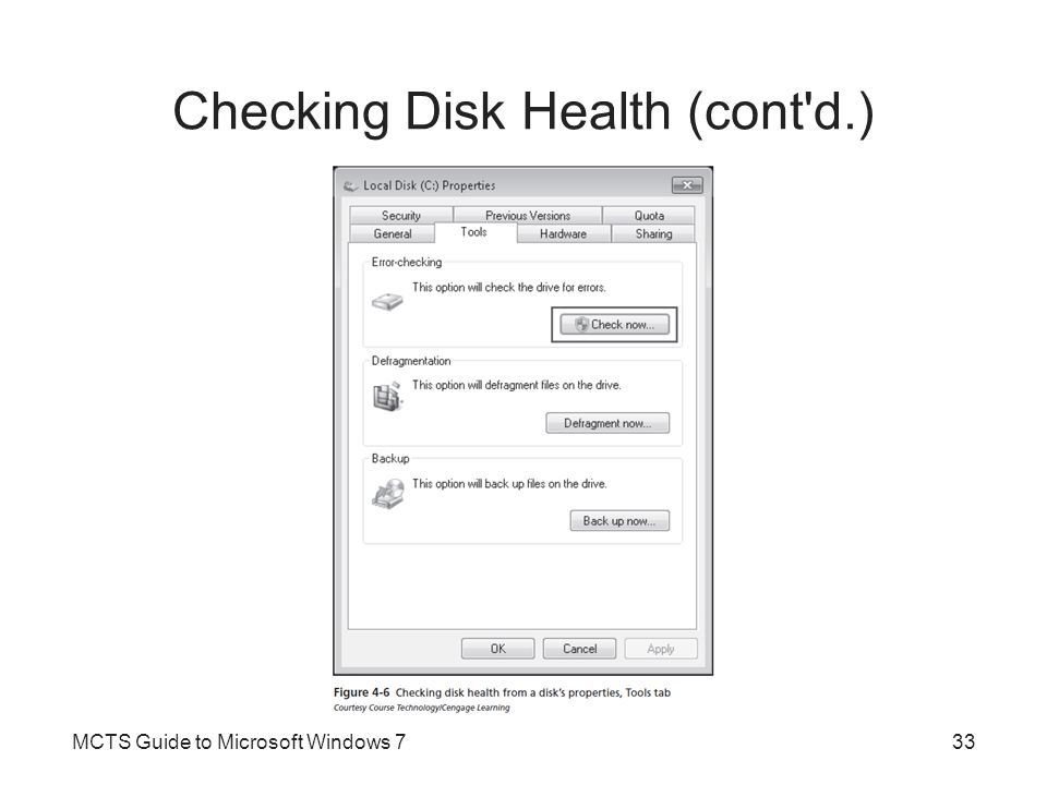 Checking Disk Health (cont d.)