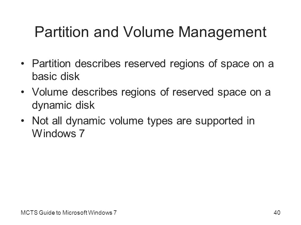 Partition and Volume Management