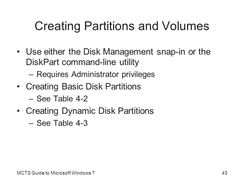 Creating Partitions and Volumes
