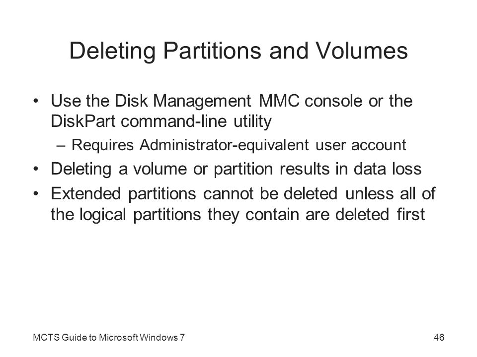 Deleting Partitions and Volumes