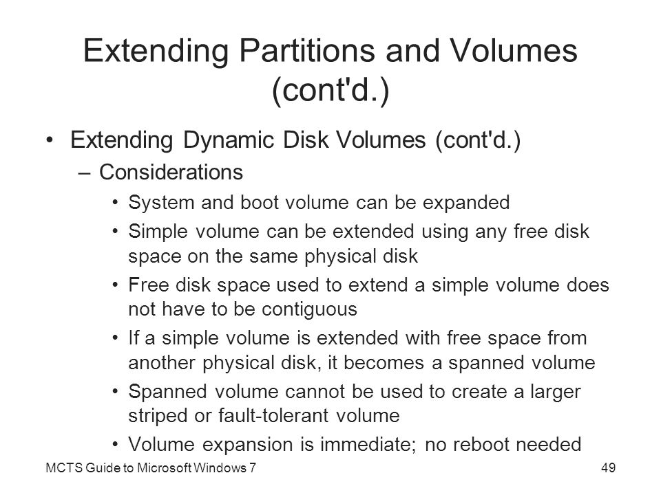 Extending Partitions and Volumes (cont d.)