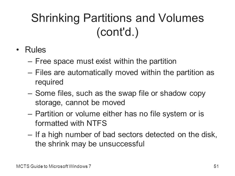 Shrinking Partitions and Volumes (cont d.)
