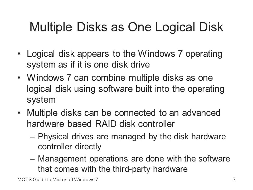 Multiple Disks as One Logical Disk
