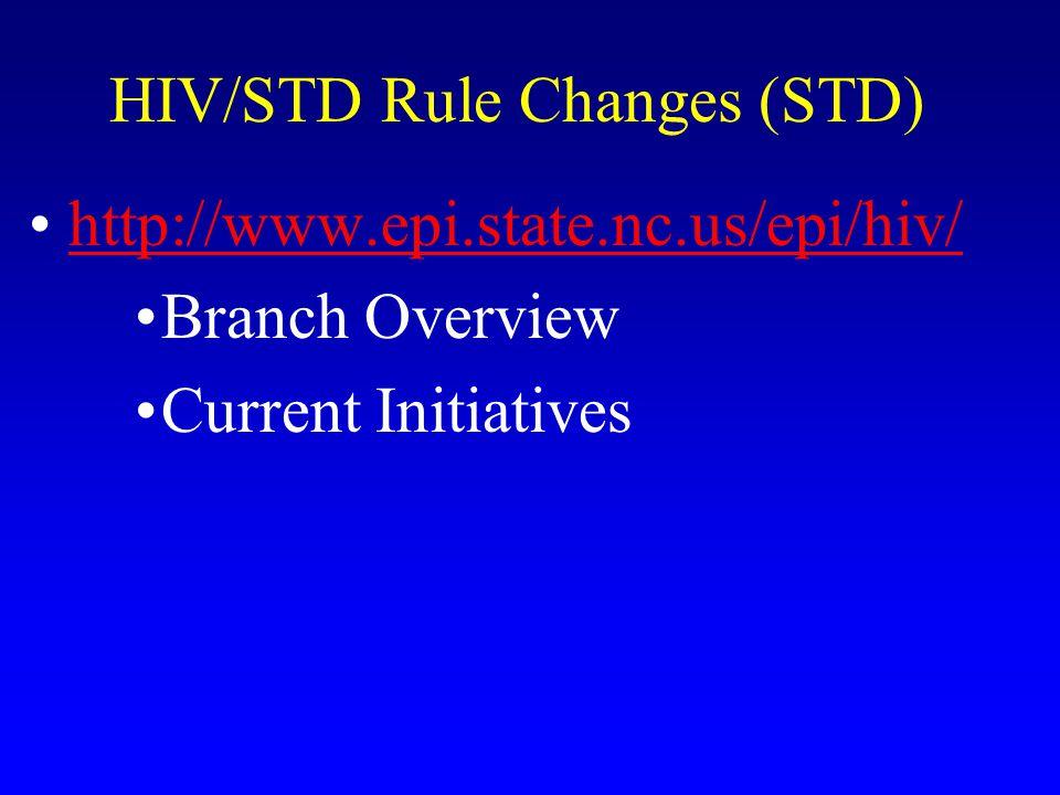 HIV/STD Rule Changes (STD)